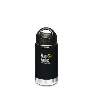 355ml/12oz Kanteen®Wide Vacuum-isolierte Thermosflasche (Stainless Loop Cap)Farbe: Black Eclipse, schwarz