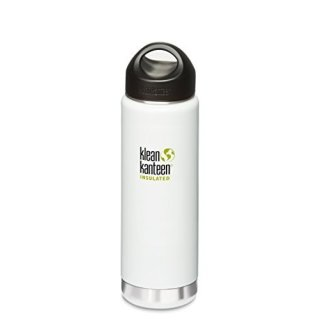 592ml/20oz Kanteen®Wide Vacuum-isolierte Thermosflasche (Stainless Loop Cap)-Farbe: Glacier White, grau-weiß