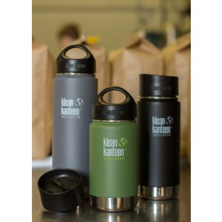 355ml/12oz Kanteen® Wide Vacuum insulated  - isolierte Thermosflasche (mit Café Cap 2.0)Farbe: Shale Black, schwarz