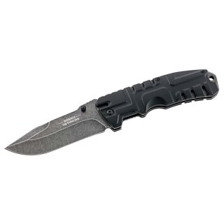 HERBERTZ Top-Collection Einhandmesser, Stahl 440, stonewash,, Liner Lock, Aluminum-Griff, Nylon-Etui, Kunststoff-Box